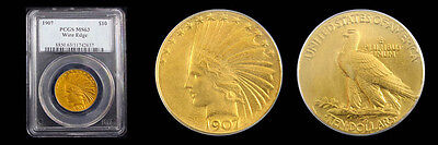 1907 $10 Wire Edge Indian Head PCGS MS63