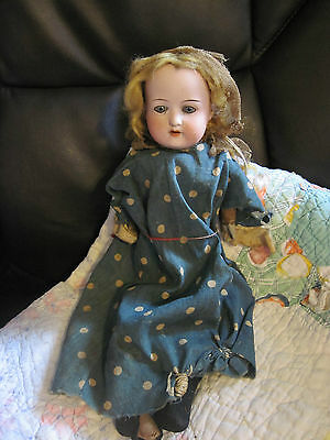"""Rare Antique German Shoulder Head Bisque Doll 13.5"""" Jointed Horse Hair Stuffed"""