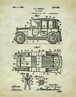 Taxi Cab Toy Patent Patent Poster Art Print Yellow Driver Service Vintage PAT264