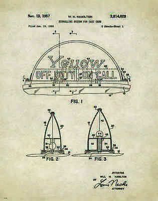 Taxi Cab Patent Patent Poster Art Print Yellow Driver Service Vintage NYC PAT265