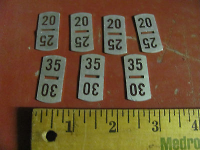 7 Old small vending machine 20-35 cent price tag plates