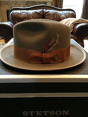 """Stetson Royal Deluxe """"ripley"""" Natural/tan Size 7 1/8 Great Fedora!"""