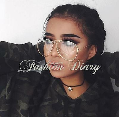 New Gold Metal Frame Clear Lens Aviator Retro Vintage Fashion Oversized Glasses