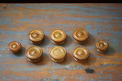 Antique Set of 8 Wood Drawer Knobs Pulls c. 1800 Painted