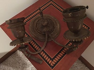 Antique Double Arm Brass Wall Sconce