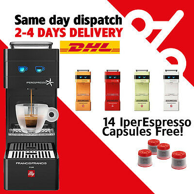 Illy coffee machine Y3 in Black/Orange/Green/White/Red color + 14 Free Capsules!