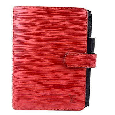 Auth LOUIS VUITTON Agenda MM Day Planner Cover Epi Leather Red R20047 09U331