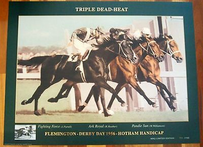 Flemington Derby Day Horse Racing 1956 Triple Dead Heat Limited Edition Poster
