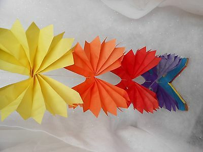 8 FEET TALL LARGE  VINTAGE CHINESE  PAPER LANTERN  FOLD OUT colorfull decoration