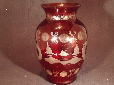 "Vintage Egermann Bohemian / Czeh Ruby Etched / Cut to Clear Vase - 8.5""Tall"