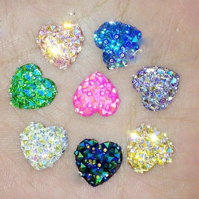 50Pcs Colorful DIY Heart Crystal Rhinestone Charms  Crafts Jewelry Making 12mm