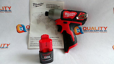 "*New* Milwaukee 2462-20 M12 12V Li-Ion 1/4"" Cordless Impact Driver & One Battery"