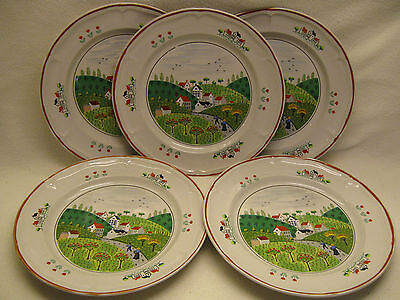 "Newcor Stoneware of Japan Country Village Five 10 5/8"" Dinner Plates Used"