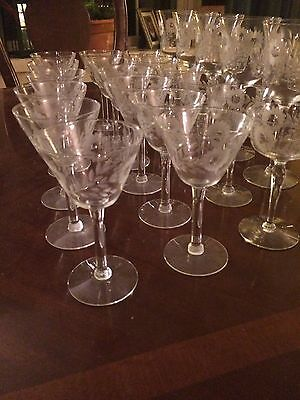 SET 30 ANTIQUE CUT CRYSTAL Etched Flower GLASS STEMS GOBLETS, WINE, Sherry, Port