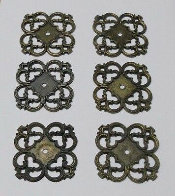 6 Vintage Ornate Metal Back Plate for Drawer Cabinet Knob Pulls Gold/Bronze
