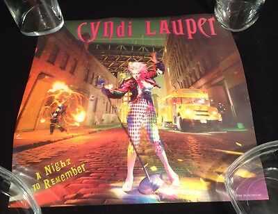 "1989 A Night To Remember CYNDI LAUPER Promotional 2-Sided 12"" Jacket Poster"
