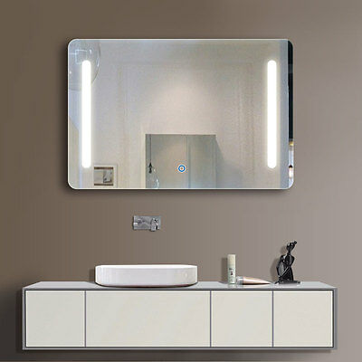 Horizontal LED Illuminated Light Bathroom Vanity Wall Mirror Touch Button Large