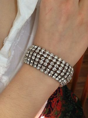 RARE all PASTE CRYSTALS ART DECO HUGE THICK BRACELET WEISS Rhinestones!