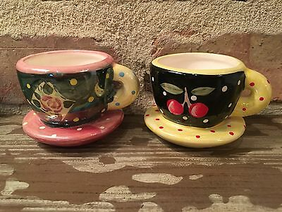"""Two Mary Engelbreit ME Ink Christmas Cup and Saucer Ornaments 3"""""""