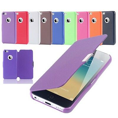 Flip Leather Ultra Thin Slim Cover Magnetic Case for Apple iPhone Samsung