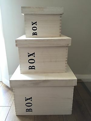 Set 3 Wooden Crate Storage Boxes With Lids