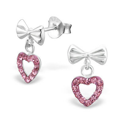 925 Sterling Silver Bow & Pink Crystal Hanging Heart Stud Earrings Kids Girls