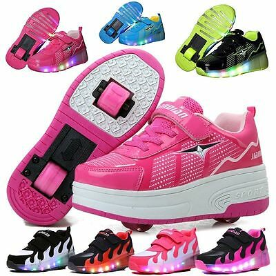 Unisex Youth Kids Girls Boys Roller Shoes Skate  Retractable Single Dual Wheel