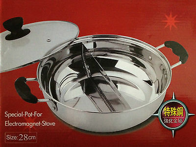 Stainless Steel Divided Steamboat Pot 28 cm - Asian Chinese Steam Boat Hotpot