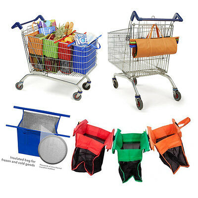 Trolley eco Bags - Set of 4pcs Reusable Supermarket Grocery Shopping Bags kk