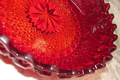 Vintage Style Ruby Burgundy Red Art Glass BOWL / DISH Stepped Rim 19CmW
