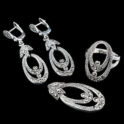 Dazzling Real Marcasite Champagne Oxidized 925 Silver Dangler Jewelry Set, 6.25#
