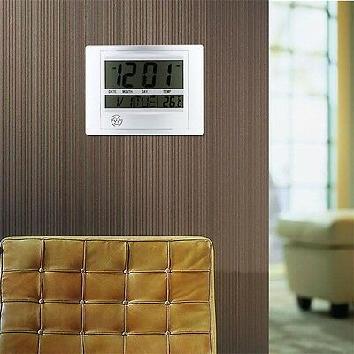 Self Setting Digital LCD Home Office Decor Wall Clock Indoor Temperature OP