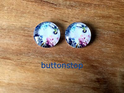 2 x 12mm glass dome cabochons - honeysuckle bird with flowers