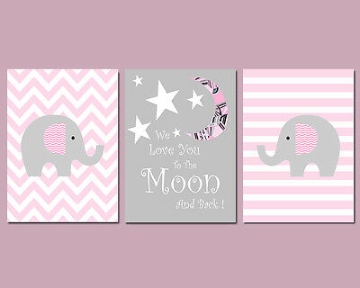 3 Wall Art Nursery Prints Love You To The Moon And Back Pink & Grey Baby Gift