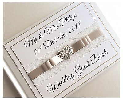 Personalised Diamante & Lace Wedding Guest Book.Diamante Heart Any Colour! BOXED
