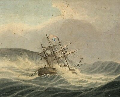 Sailing Ship in Stormy Seas - 19th-century hand-coloured etching print