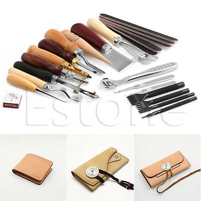 Leather Craft Stitching Carving Working Sewing Saddle Groover Punch Tools 1Set