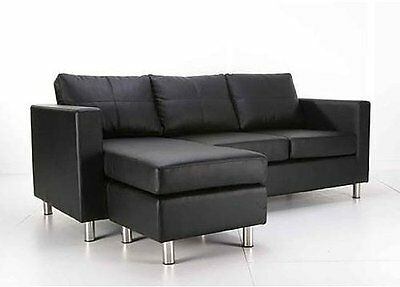 Black Pu Leather 3 Seater Sofa Lounge Couch  With Chaise