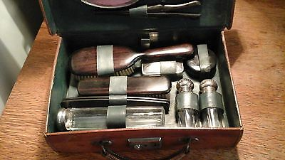 Edwardian Ebony & Silver Plate Vanity Travelling set in a Leather case with Key.