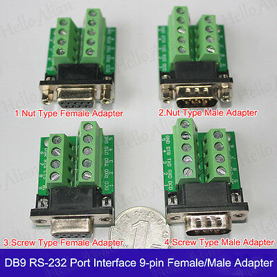 DB9 RS-232 Port Interface 9-Pin Female/Male Adapter I/O Breakout Board Connector