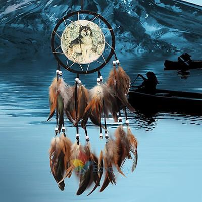 Large Wolf Dream Catcher With Feathers Beads Wall Hanging Decoration Ornament #A