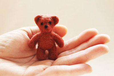 HANDMADE. Needle felted brown bear miniature, tiny teddy toy, wool toy.
