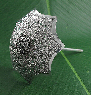 Flower Engrave Umbrella Hair Pin 925 Sterling Silver Jewelry Vintage Stick
