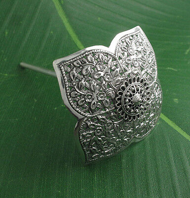 Lotus Flower Engrave Umbrella Hair Pin 925 Sterling Silver Jewelry Stick Vintage