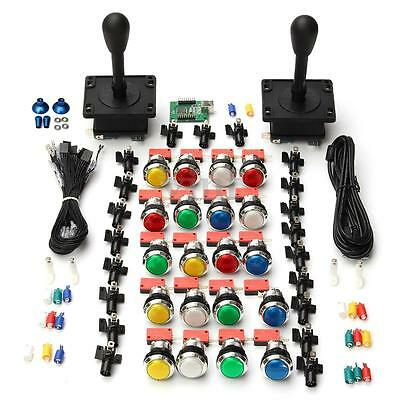 Arcade Game Kits 2 Joysticks + 20 LED Buttons Wire 2 Player USB Encoder Part