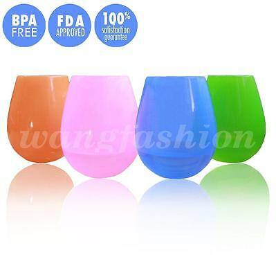 Set of 4pcs Silicone Wine Glasses Cup Unbreakable Drinking Cup Flexible Beer Cup