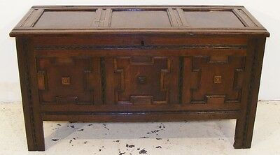 Good Quality Antique Three Panel Oak Coffer