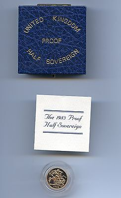 G.b. 1983  Proof Gold Half 1/2 Sovereign Case + Certificate