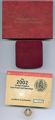 G.b. 2002 Shield Proof Gold Half 1/2 Sovereign Case + Certificate