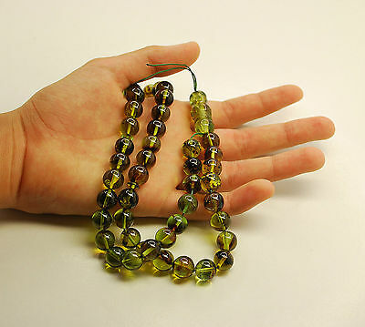 Green Dominican Amber 45 Round 10 mm Balls Islam Prayer Beads Misbaha Tasbih